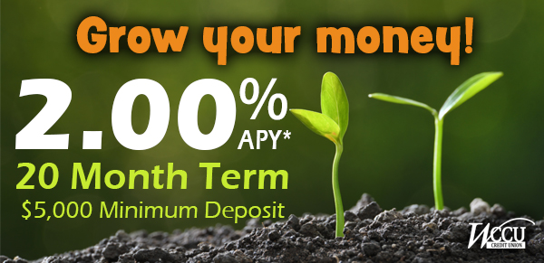 2.00% Special 20-month Certificate - WCCU Credit Union