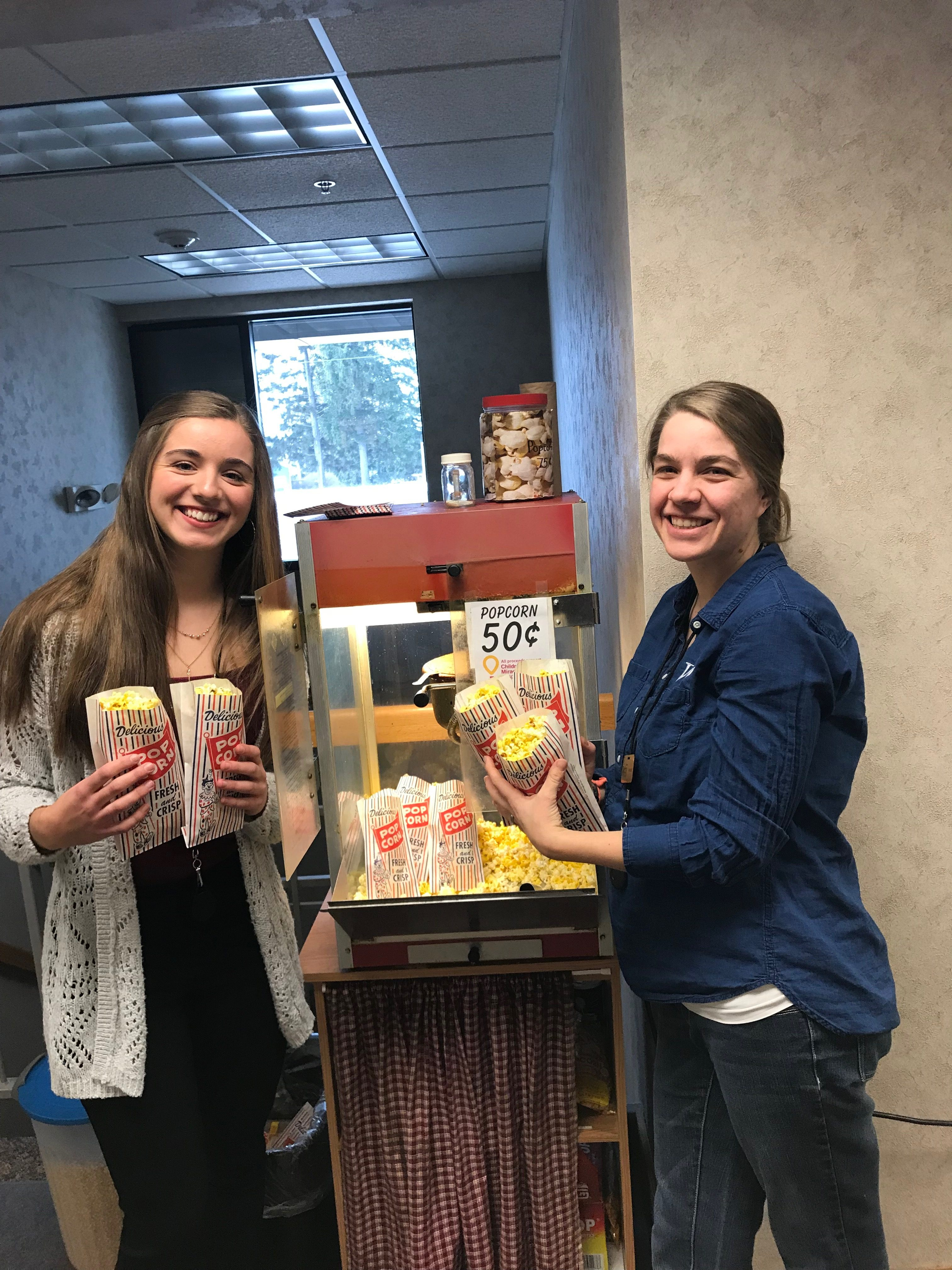 At WCCU Westby, staff members Lauryn Dickman and Randi Strangstalien celebrated National Popcorn Day during Miracle Month. Throughout the year, WCCU offices sell popcorn to staff and members to raise money for CMN.
